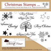 Christmas Stamps - 9 Christmas/Winter themed digi-stamps on A4