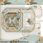Scallop shaped Fold Card Vintage Butterfly 2