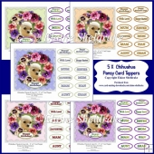 Five 6 x 6 Assorted Chihuahua Puppy Dog & Pansy Card Toppers