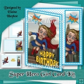 Super Hero Girl Birthday Card Kit