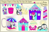 Penguin Pearl & Pete By The Sea CU Clipart