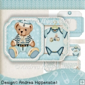 Scallop shaped fold Card Baby Boy