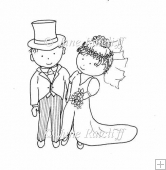 Bride and Groom Digital Stamp/Lines Art