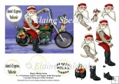 Happy Motor Biking Santa With Tattoos - 5 x 7 Topper & Decoupage