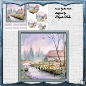 House by the river card with petal stackers