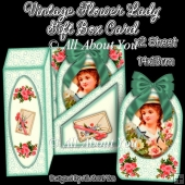 Vintage Flower Lady Gift Box Card