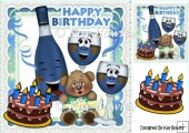 Party time! toony glasses blue with cake 8x8