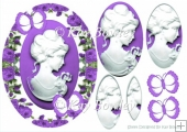 cameo lady with purple butterflies and roses oval pyramids