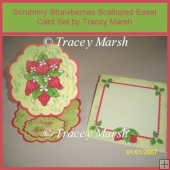 Scrummy Strawberries Scalloped Easel Card Set