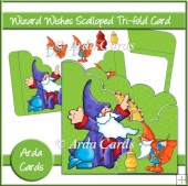 Wizard Wishes Scalloped Tri-fold Card