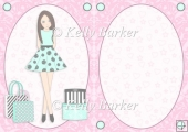 Teen Girl Brunette Boxes & Bags in Mint & Pink A5 Insert