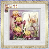 Pink iris 7.5x7.5 card with decoupage and sentiment tags