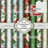 "8"" x 8"" Christmas Backing Papers - Set One Christmas Floral"