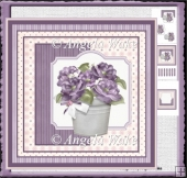 Pot of purple flowers