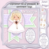 1ST HOLY COMMUNION or CONFIRMATION Blonde Girl & Verse Decoupage