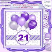 PURPLE & SILVER BIRTHDAY BALLOONS & AGES 7.5 Decoupage & Insert