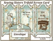 Sewing Sisters Trifold Screen Card with Decoupage
