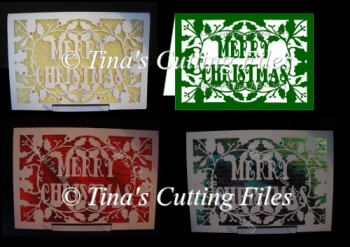 Christmas Card Template Holly Border and Merry Christmas