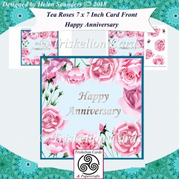 Tea Roses 7 x 7 Inch Card Front - Happy Anniversary
