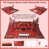 3D Pop Up Heart with Butterfly Card & Envelope