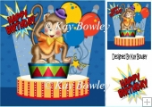 Who's a cheeky monkey! in the circus with balloons 8x8