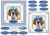 Spectacle Dogs In Blue Hats (1) - 6 x 6 Card Topper & Greetings