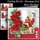 Checking His List - Decoupage Card