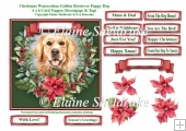 Christmas Poinsettias Watercolour Golden Retriever Puppy Dog