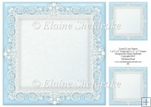 "Cyan Blue (2) Lace Frames - One 8"" x 8"" and Two 3"" x 3"""