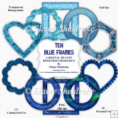 Ten Blue Frames - Designer Resource For Commercial Use - CU/PU