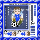 Soccer Boy in Blue Card Front