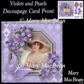 Violets and Pearls Decoupage Card Front