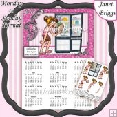 HOT FLUSHES 2018 A4 UK Calendar with Decoupage Mini Kit