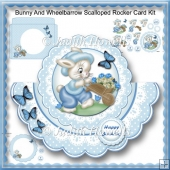 Bunny And Wheelbarrow Scalloped Rocker Card Kit