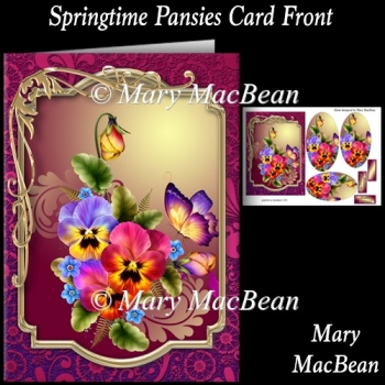 Springtime Pansies Card Front
