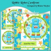 Robbie Robot Cardfront with Decoupage