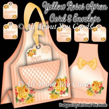 Yellow Roses Apron Card & Envelope