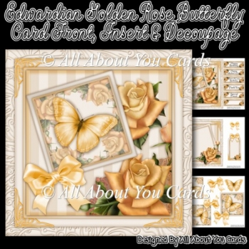 Edwardian Golden Rose Butterfly Card Front