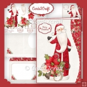Santa and poinsettia card set