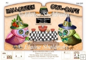 Halloween Owl Cafe, Shaped Cut And Fold Card Kit With Decoupage,