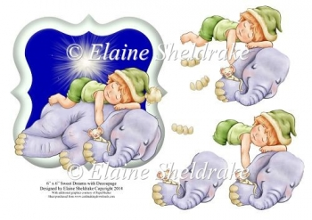 "Sweet Dreams Elephant & Child - 6"" x 6"" Card Topper & Decoupage"