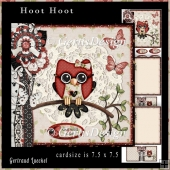 Cardtopper Kit Hoot Hoot red