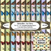 Butterflies Set Three - Ten 12 x 12 Printable Papers