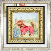 Yorkshire terrier 7x7 card with decoupage