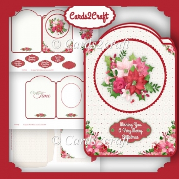 Christmas flowers shaped card set