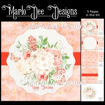 Watercolor Peach Color Floral Mini Card Kit