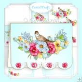 Scalloped landscape Bird and Flower card set