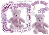 Lilac knitted bear in frill frame with bow 8x8