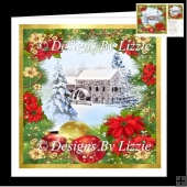 The Old Mill with Poinsettias Quick Card