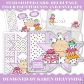 Baby Girl Birthday Star Shaped Card Kit
